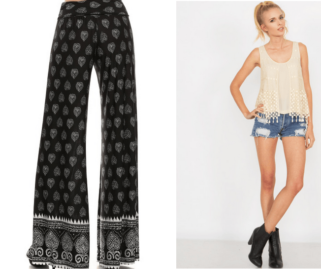 womens plazo pant and Crochet Tank Top