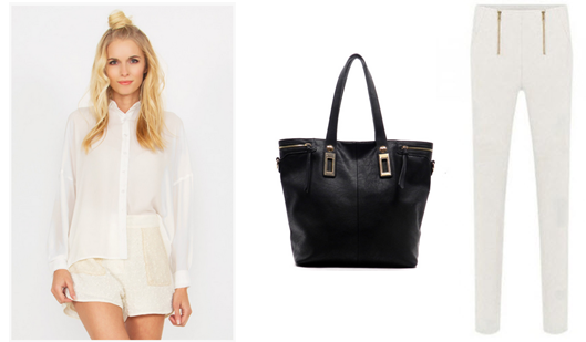 black bucket bag with white dress and pant