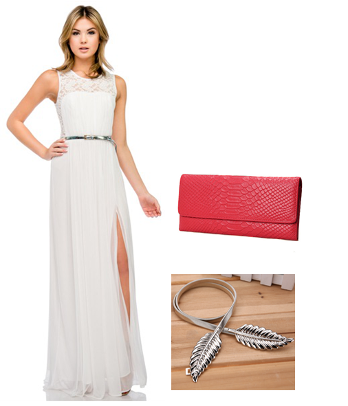 bright clutch or handbag with white dress