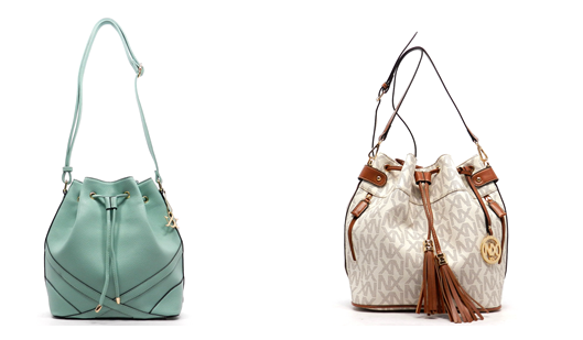 pale green and white colored bucket bags for women