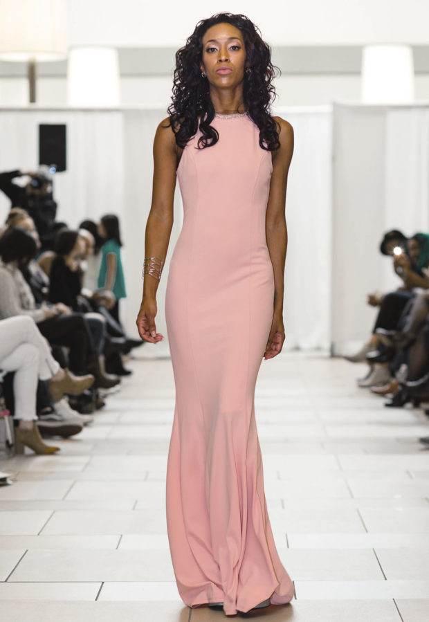 Blush Pink Long Beaded Dress Designer Prom