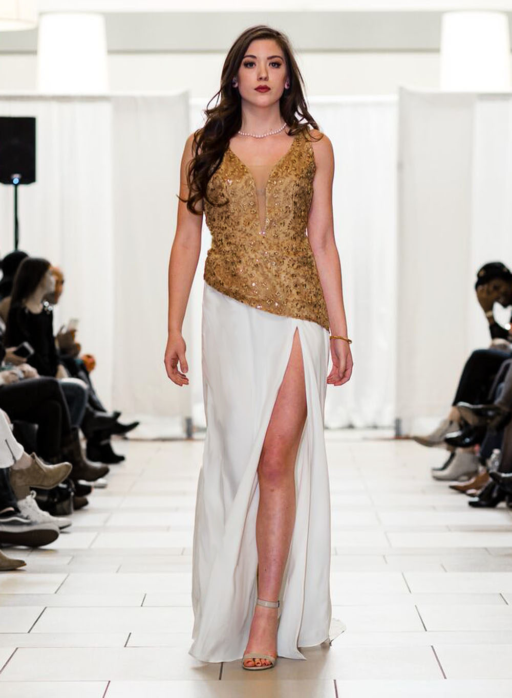 Gold Brocade white long designer dress