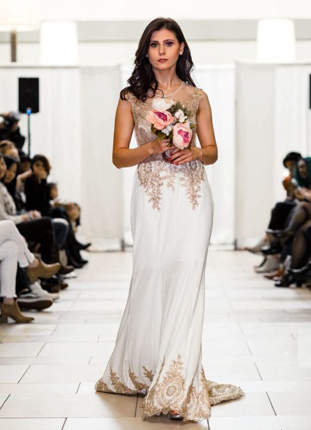 White Gold Modern Designer Wedding Dress