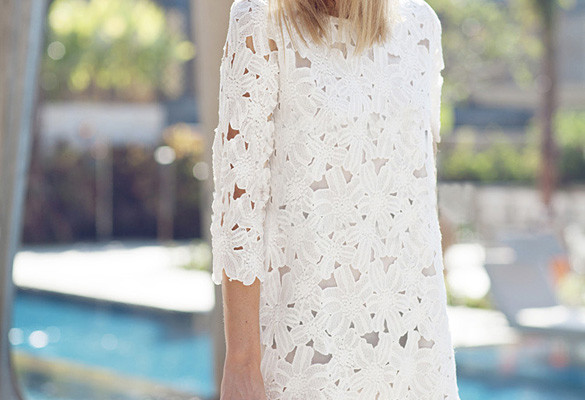 white bohemian lace dress