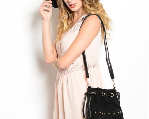 crochet bucket bags with off white color dress for women