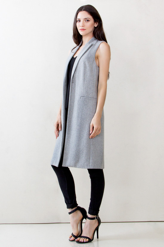 Buy Designer Talia Wool Sleeveless Long Coat For Women Online ...