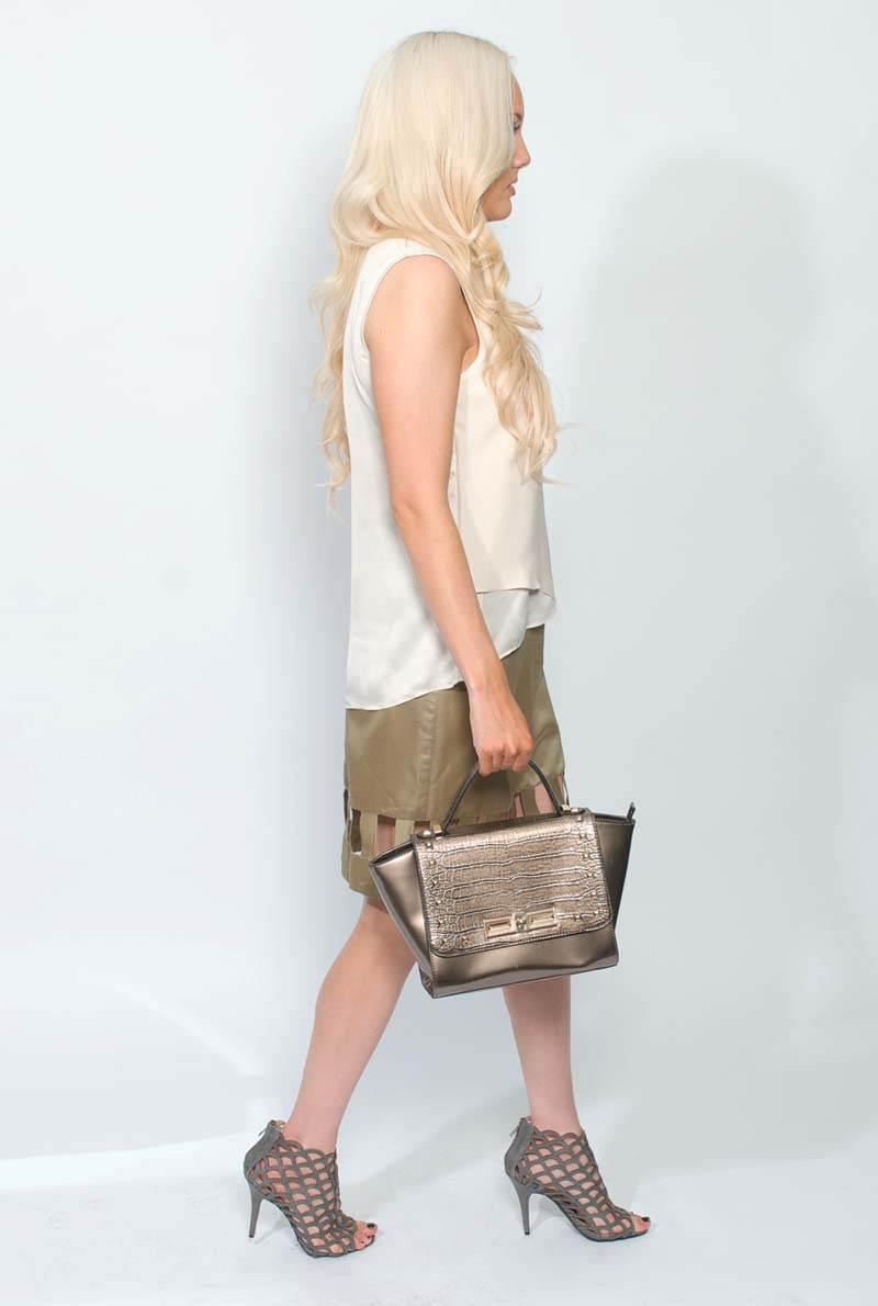 Buy Designer Brown Cutout Pencil Skirt For Women Online