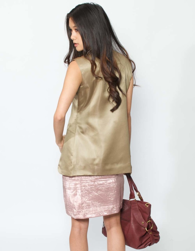 brown silk trench coat