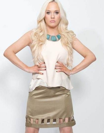 brown designer pencil skirt