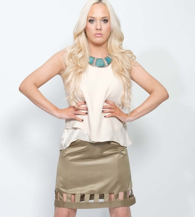 brown designer pencil skirt