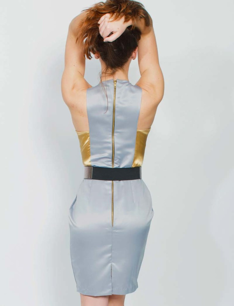 grey and gold colorblock party dress