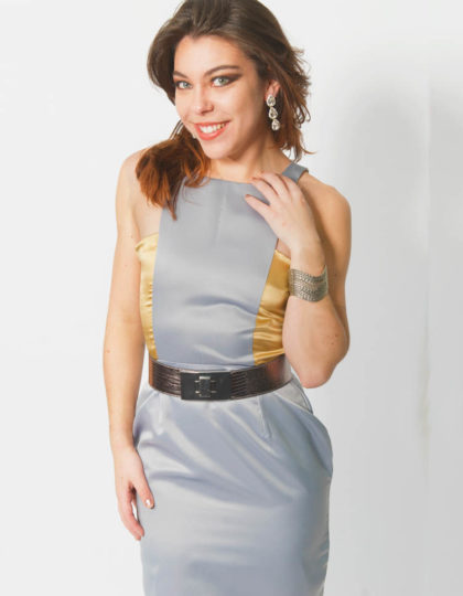 grey and gold colorblock designer dress