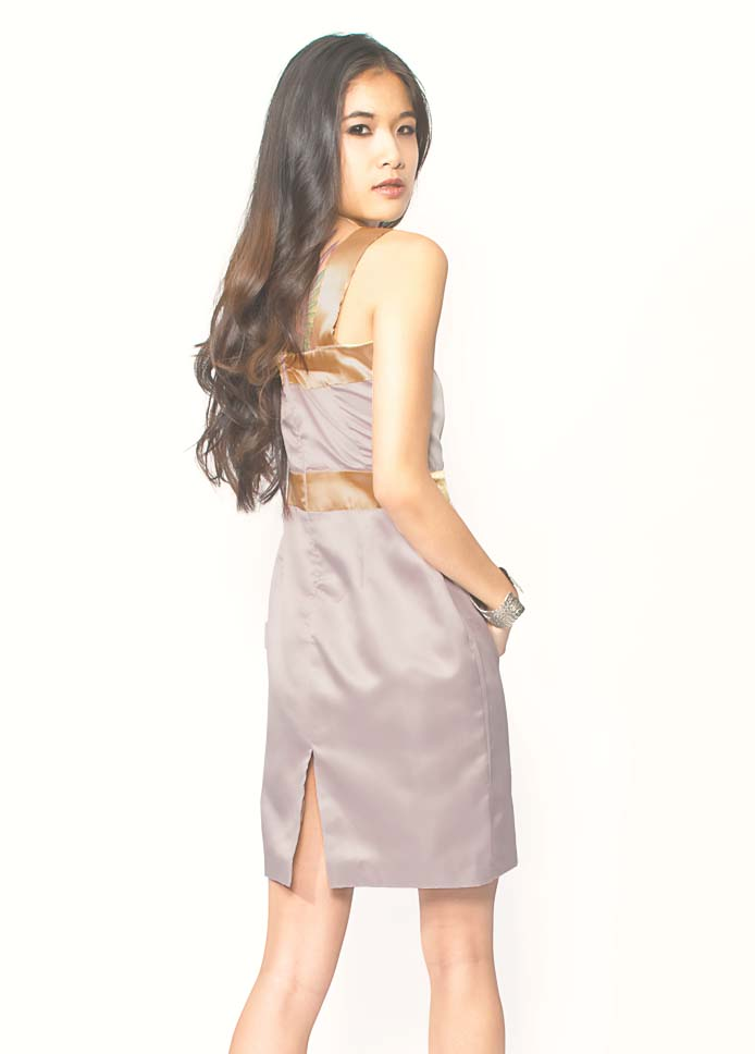 mauve silk dress