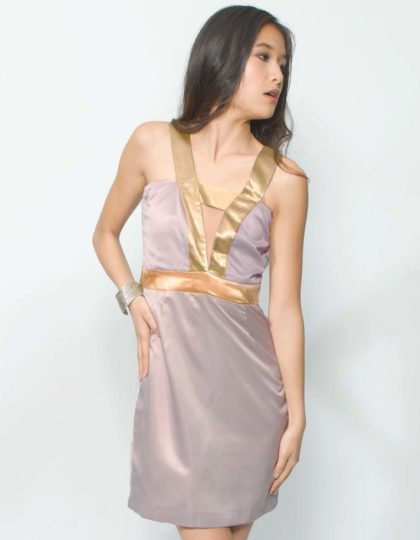 mauve silk designer party dress