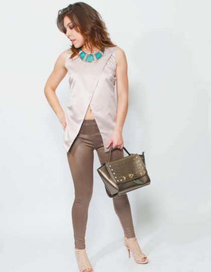 mauve designer silk top