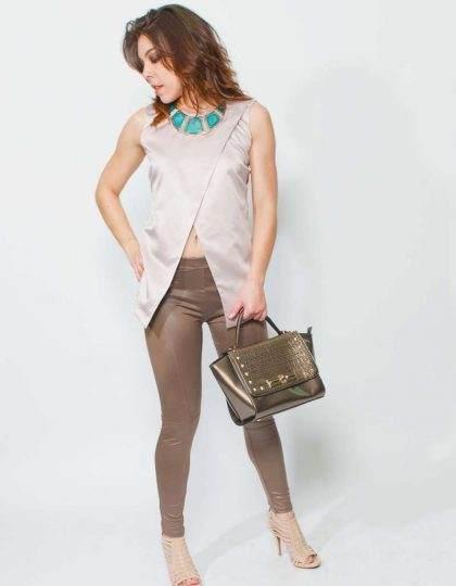 mauve designer silk top
