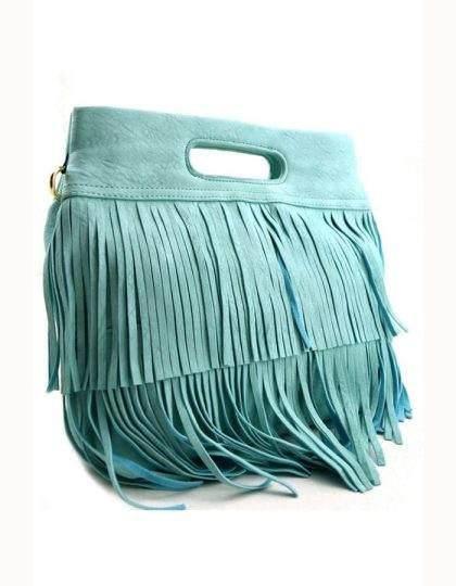 blue fringe bag