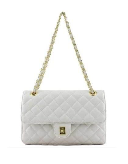 White quilted designer purse