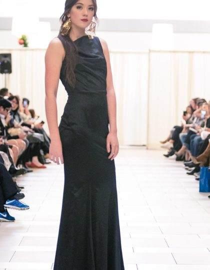 Black designer gown and gold designer earrings seattle fashion boutique shop