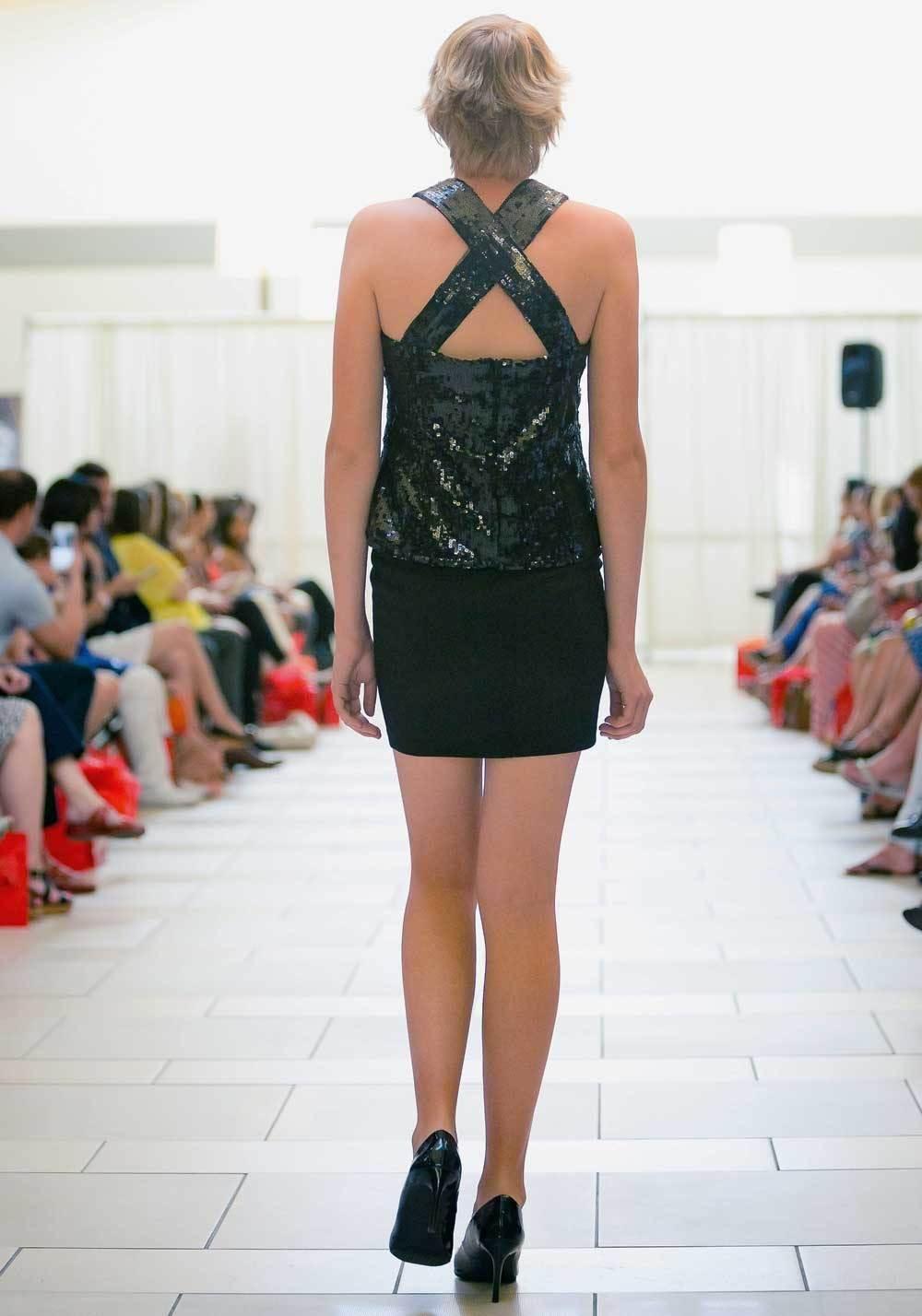 black sequin designer top