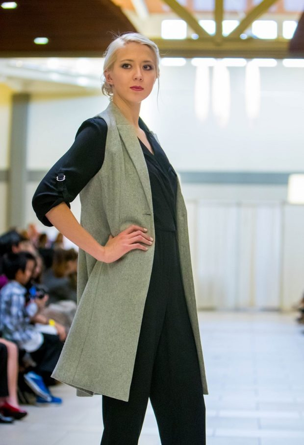 grey-designer-woollen-long-womens-jacket-seattle-fashion boutique bellevue shop