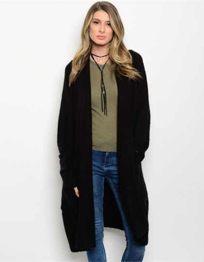 designer women's black long cardigan