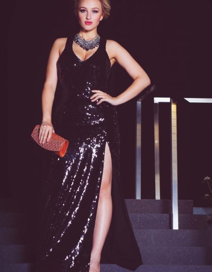 black custom designer dress gown