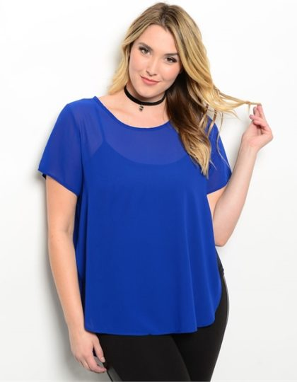 Royal blue plus size curvy chiffon top