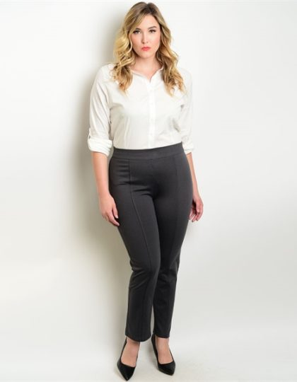 charcoal grey plus size ponte pants