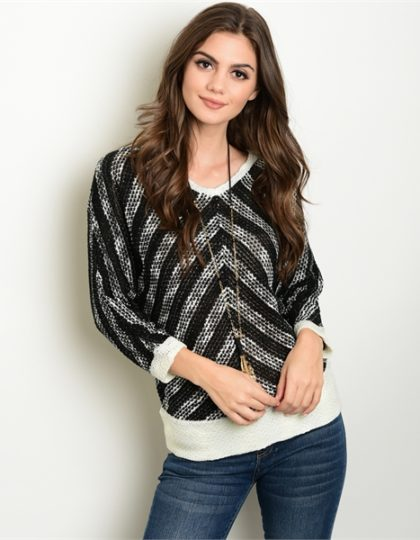 women's black beige designer pattern sweater