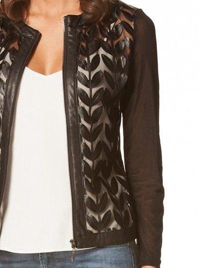 black faux leather designer women's lace jacket1
