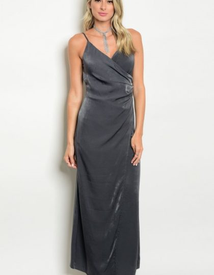 grey satin silk maxi dress