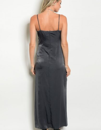 grey satin designer silk maxi dress