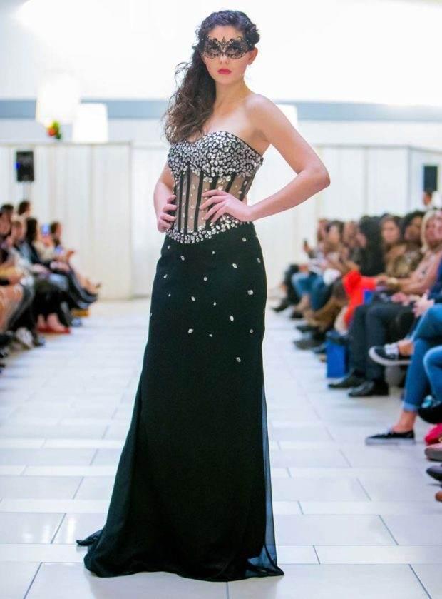 rhinestone designer black gown seattle fashion