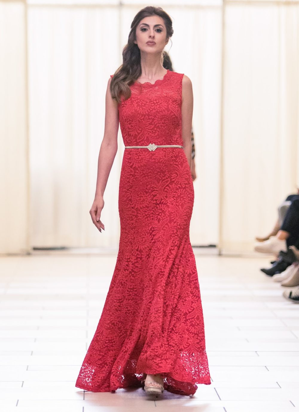 Designer fashion Red lace gown bellevue boutique