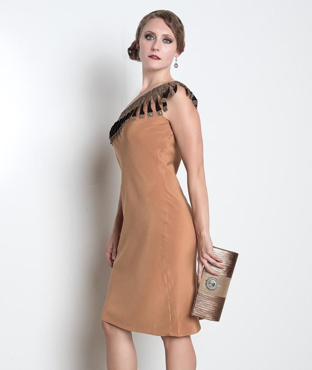 brown-one-shoulder-designer-dress-bellevue-boutique-shopping online