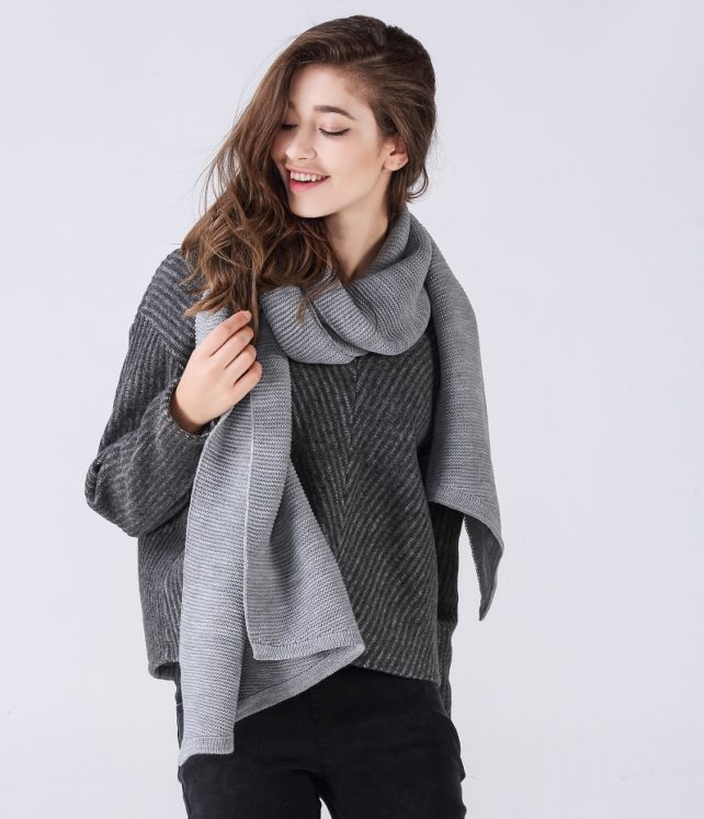 grey designer wool scarf seattle fashion bellevue online boutique