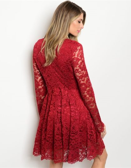online-red-lace-designer-short-dress-seattle-fashion-bellevue-shopping-boutique-back