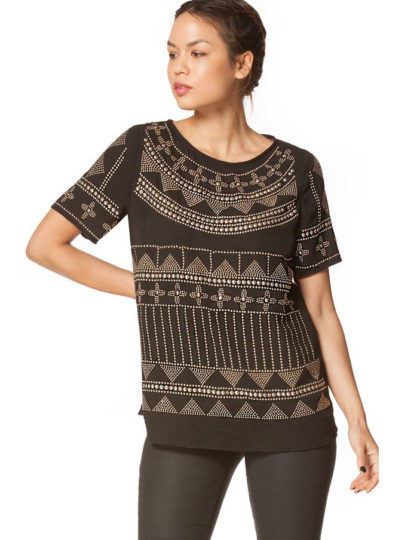 Black Trendy Plus Size Party Top