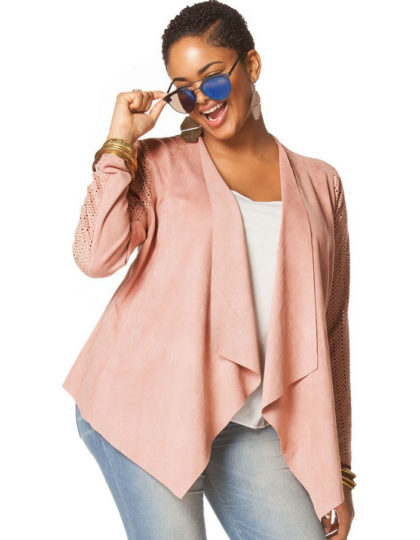 Blush pink plus size trendy women's jacket curvy fit