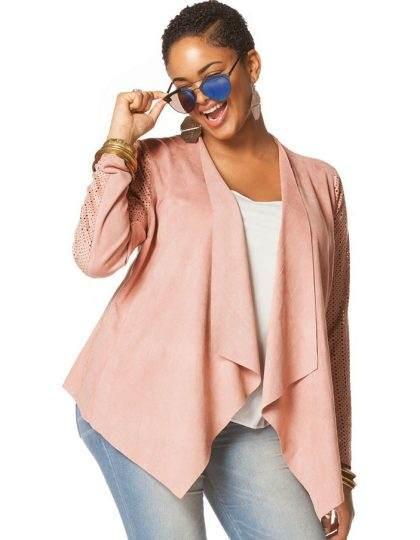 Blush pink plus size trendy women's jacket curvy fit