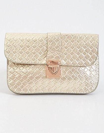 Gold basketweave designer faux leather clutch