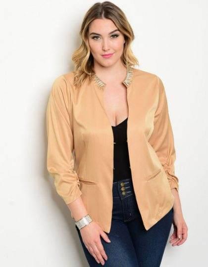 Mocha plus size women's designer jacket blazer