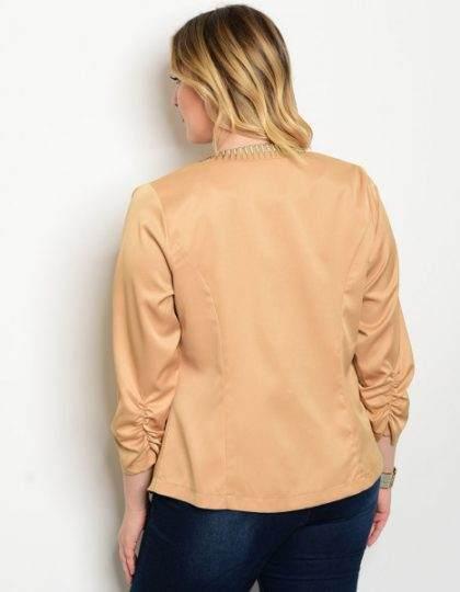 Mocha plus size women's designer jacket