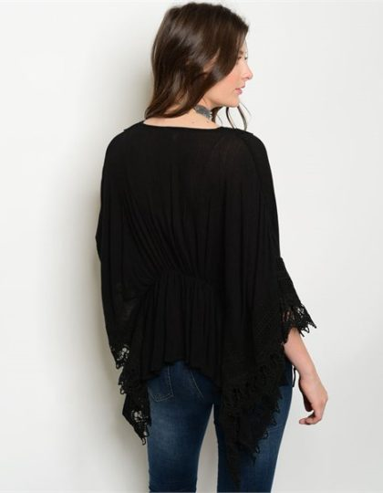 black long sleeve designer crochet cardigan bellevue boutique