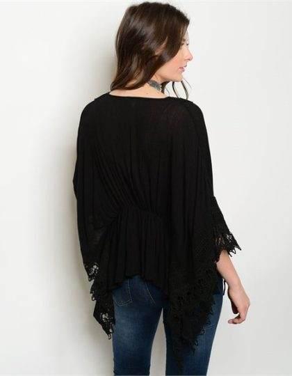 black long sleeve designer crochet cardigan bellevue boutique