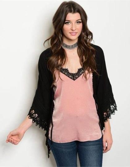 black long sleeve designer crochet cardigan seattle fashion boutique