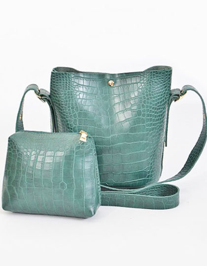 green crodile skin faux leather 2 set purse