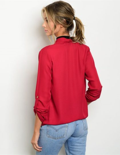 burgundy long sleeve designer blouse seattle fashion boutique back