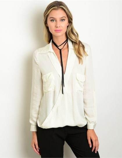 SEATTLE FASHION DESIGNER women's ivory blouse